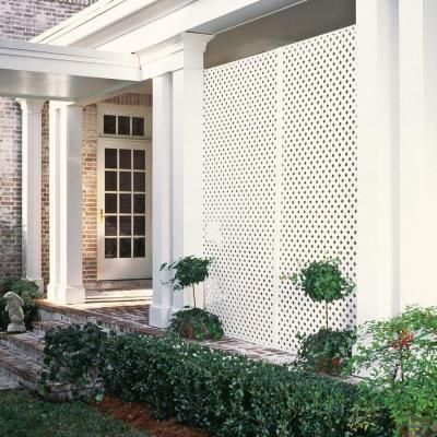 Veranda 4 Ft X 8 Ft White Privacy Diamond Vinyl Lattice