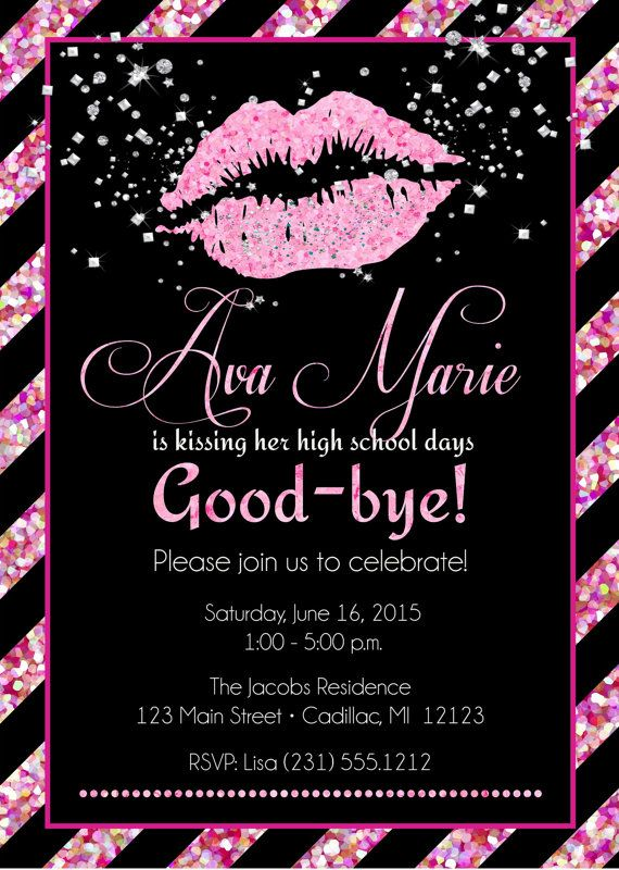 Lips Graduation Invitation Senior Graduation Invitation Girls