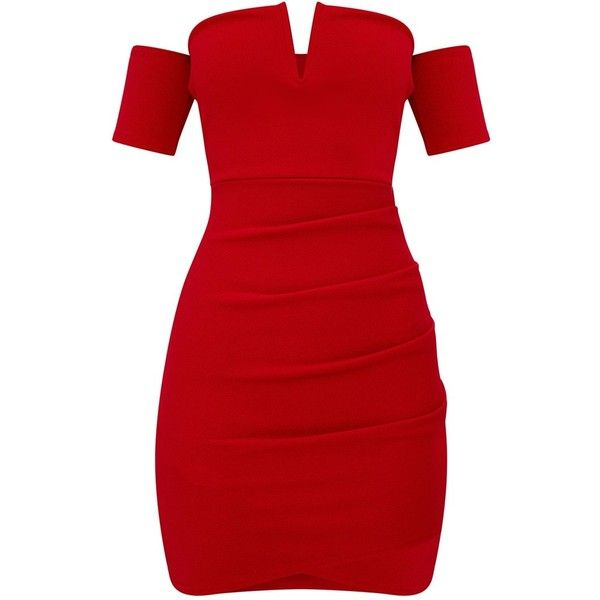507fbbe465f8 Red Bardot Wrap Front Bodycon Dress ($40) ❤ liked on Polyvore featuring  dresses, dresses short, body con dresses, body conscious dress, bodycon  dress, ...