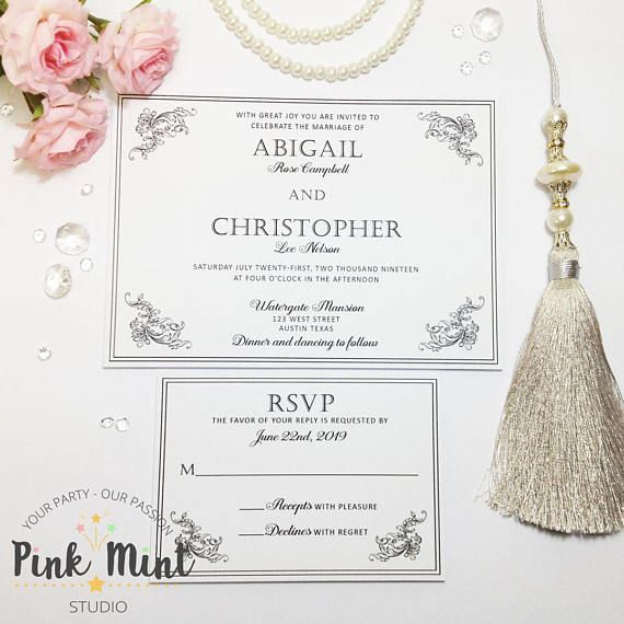 Vintage Wedding Invitations Filigree Wedding Invitations Wedding
