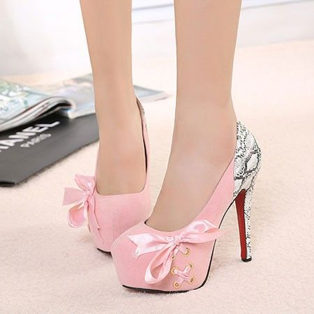 Elegant Stylish Bowknot Cross Lace Spliced Contrast Color High-heeled Shoes