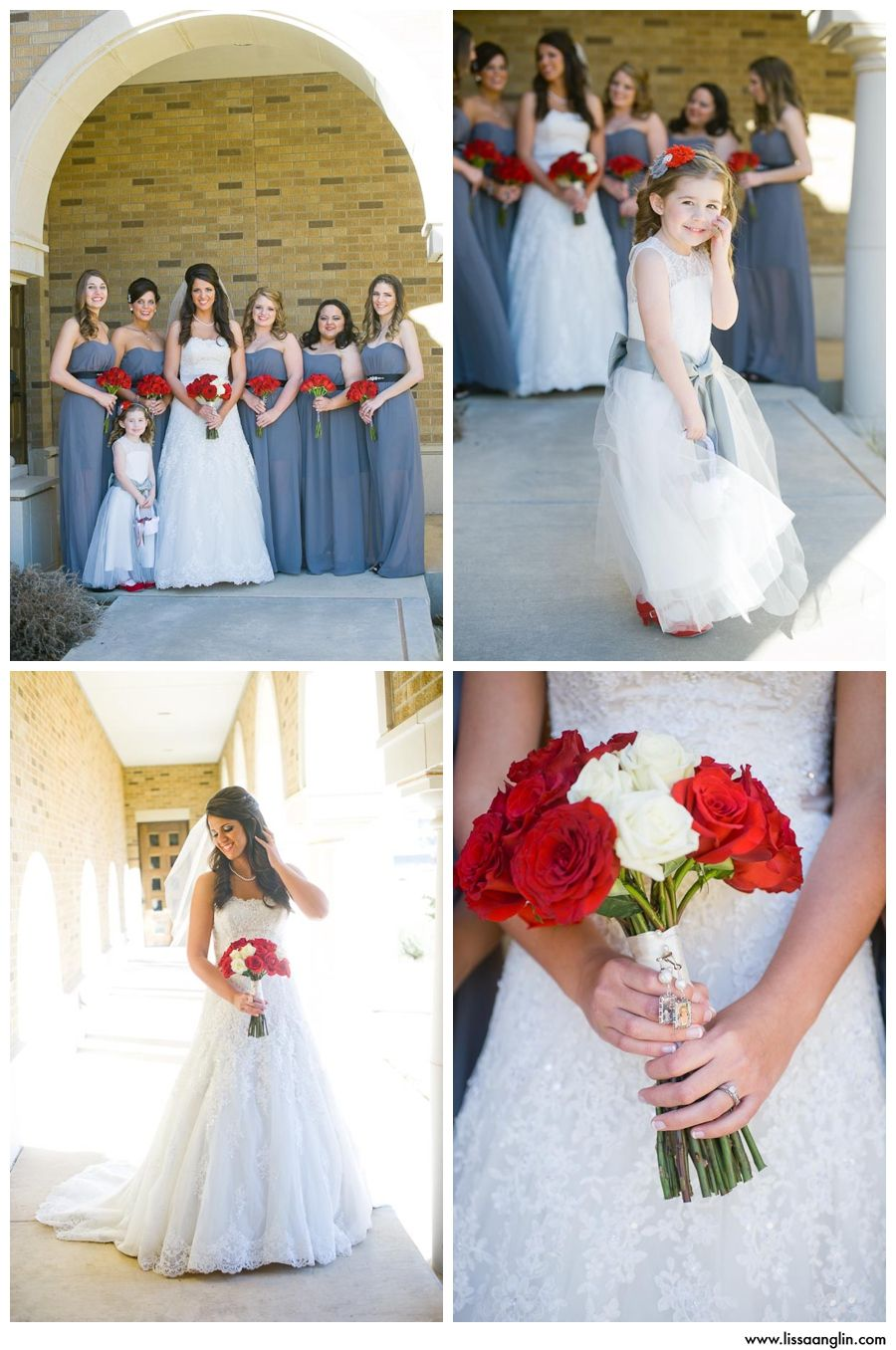Grey bridesmaid dresses with black belts with diamonds red rose grey bridesmaid dresses with black belts with diamonds red rose bouquets ombrellifo Images