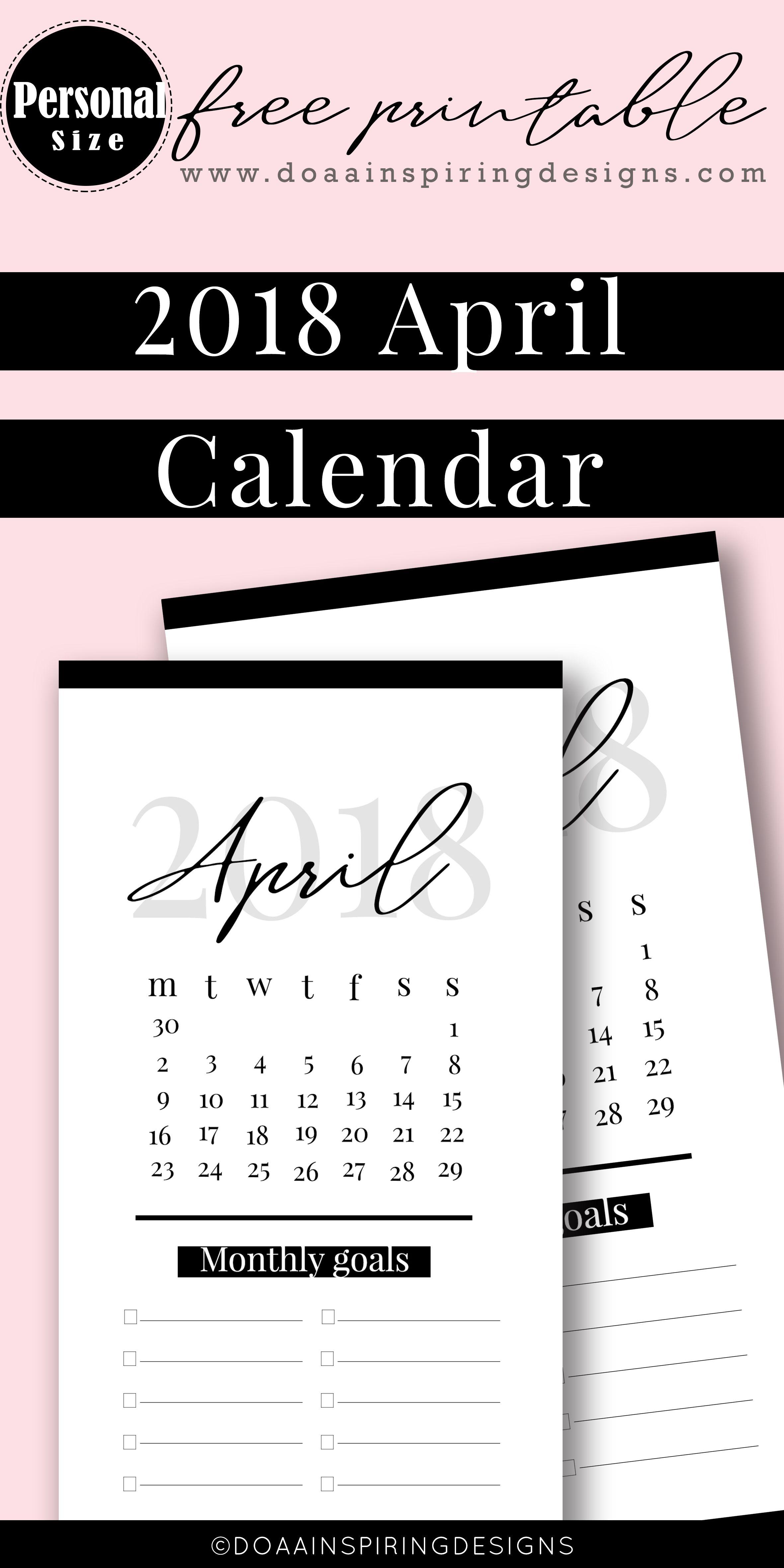 April Calendar Personal Size Calendar Divider Free Printable From Basic Planner