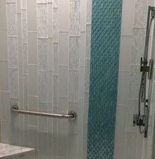 Vertical Subway Tile Installation Subway Tile In Different Sizes Installed Vertically Subway Tile In Subway Tile Subway Tiles Bathroom Subway Tile Showers