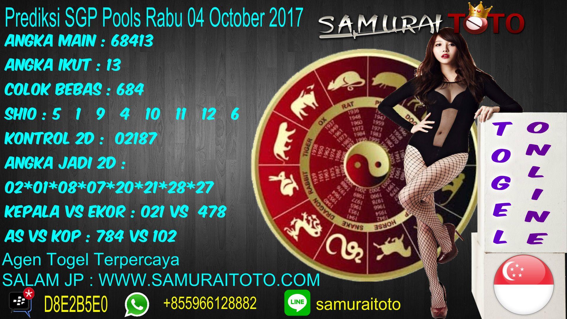 Prediksi Togel SGP Pools Rabu 04 October 2017 Angka Main