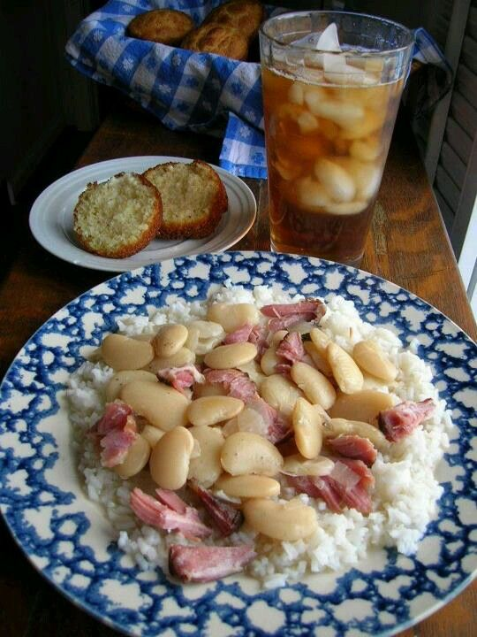 Giant lima beans with ham, rice, corn bread n sweet tea  Every