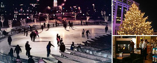 Ice skate at Red Arrow Park and sip on a cup of hot chocolate.