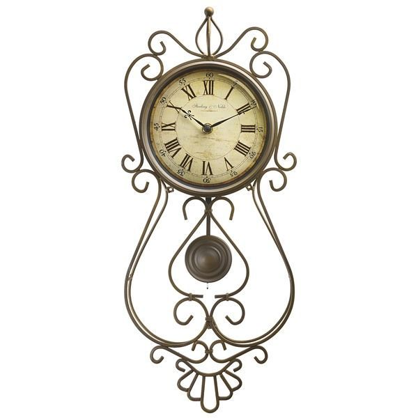 sterling u0026 noble scroll pendulum wall clock wrought iron