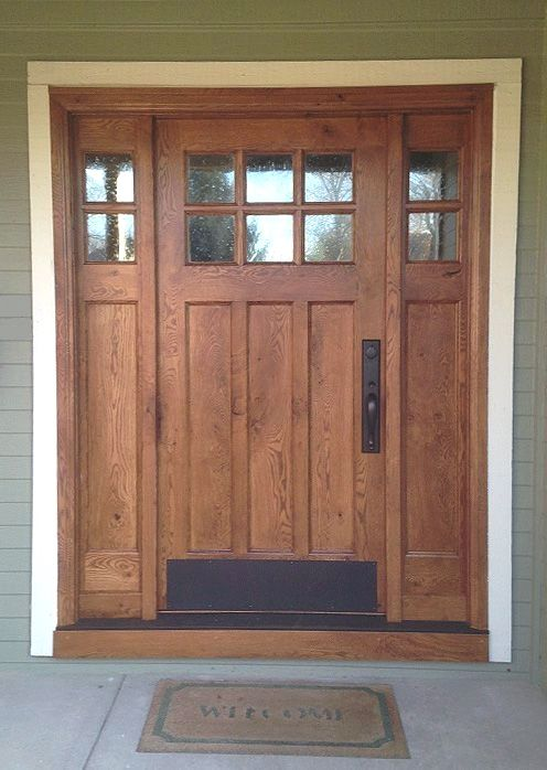 This Craftsman Style Door And Sidelights Built Of Rustic