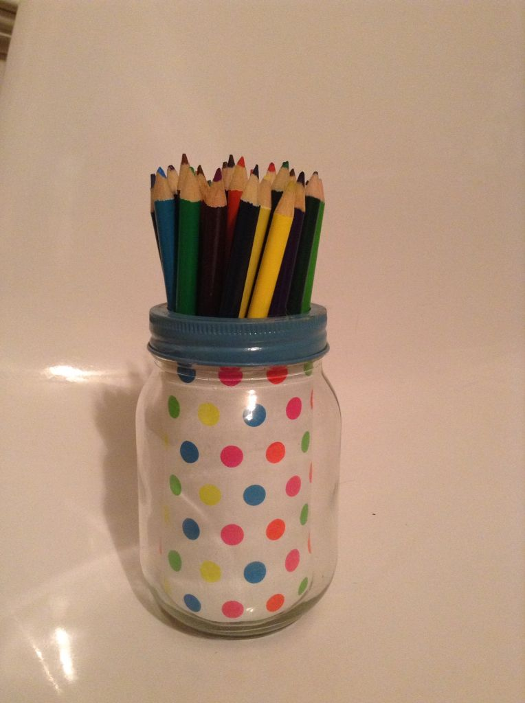 Super cute mason jar made from an old project!