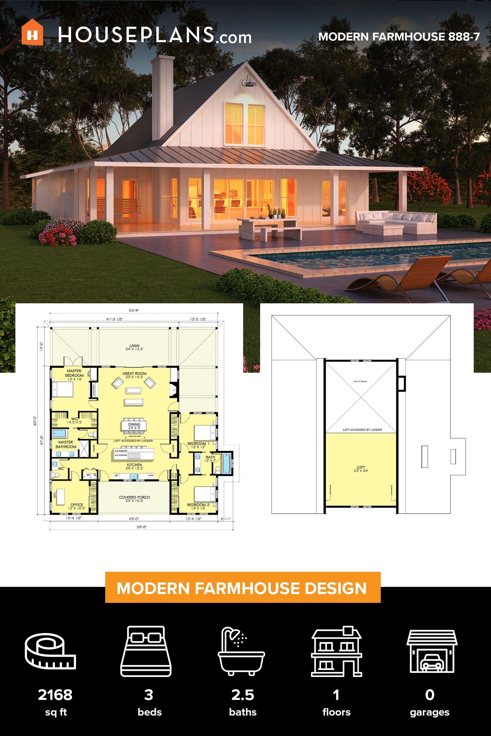 Farmhouse Style House Plan 3 Beds 2 5 Baths 2168 Sq Ft Plan 888 7 In 2020 Modern Farmhouse Plans House Plans Farmhouse Farmhouse Plans
