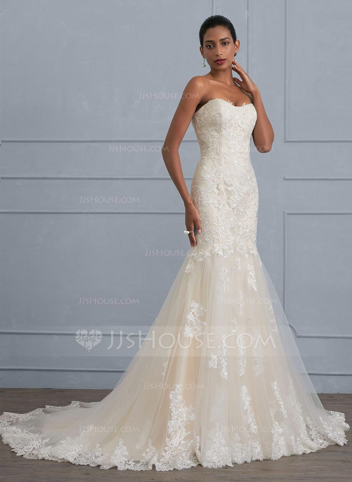 c6a795d9a609 Trumpet/Mermaid Sweetheart Court Train Tulle Lace Wedding Dress (002117031)  - Wedding Dresses - JJsHouse #laceweddingdressessweetheart