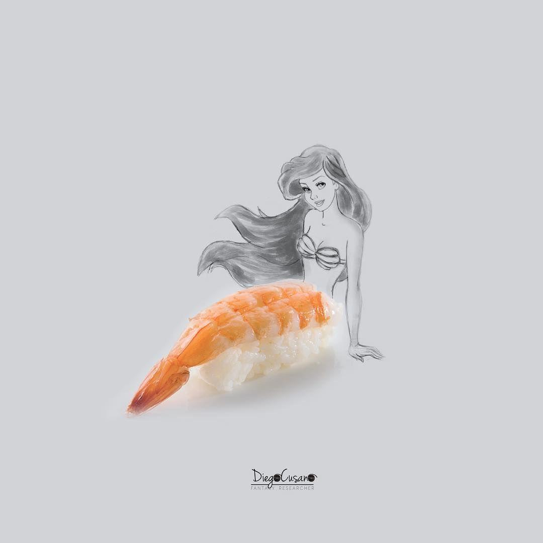 Ariel sushi!  #amaebinigiri #sushi #orientalfood #foodart #foodartist #thelittlemermaid #sirenetta
