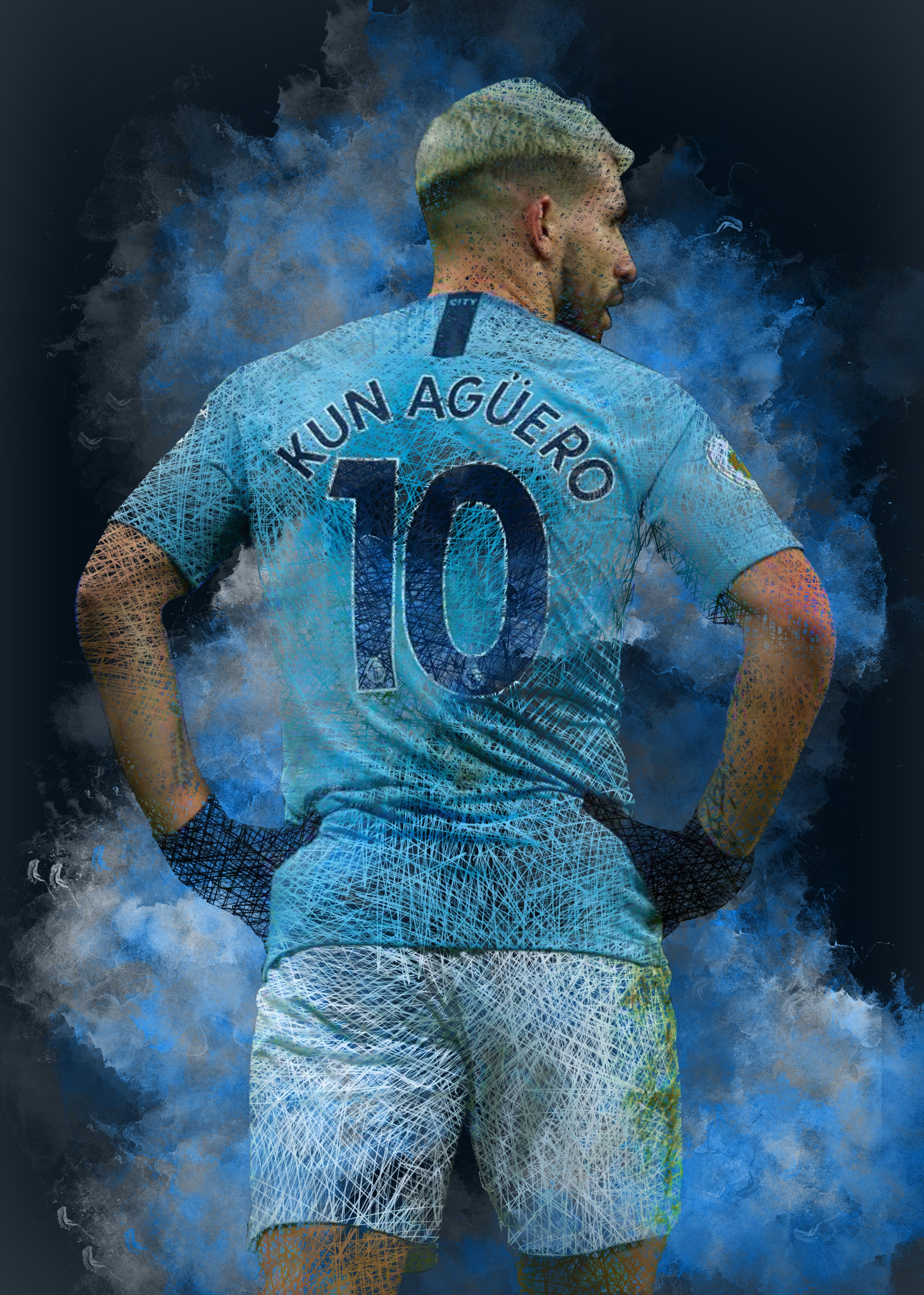 Man City Sergio Aguero Top Striker Premiership Football Art Canvas Pictures