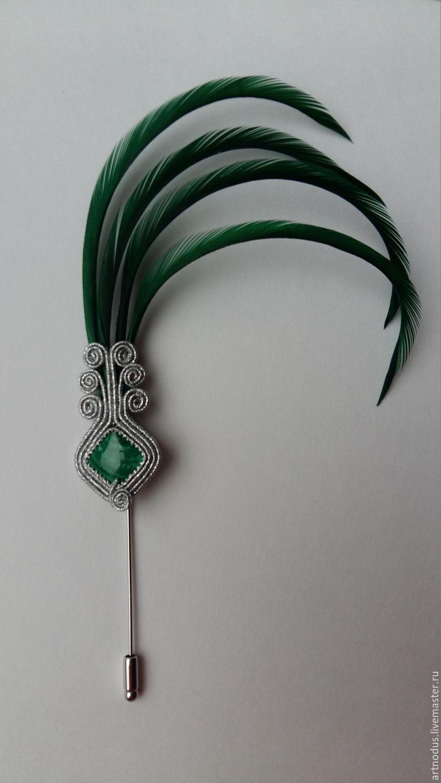 77fc0c116abf Купить брошь /шляпная булавка с зелеными перьями в интернет магазине ...