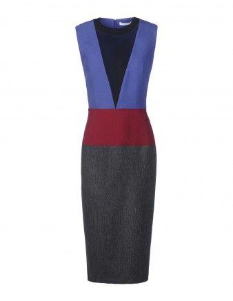 Color-Block Sheer Panel Dress