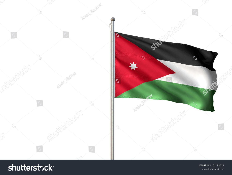 Jordan National Flag Single Waving Isolated On White Background Realistic 3d Illustration Ad Ad Single Wavin In 2020 Motion Graphics Animation National Flag Flag