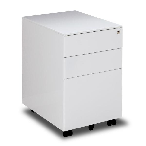 Merax White 3 Drawers Metal File Cabinet Fully Assembled Except For Castors W25202811 The Home Depot Filing Cabinet Metal Filing Cabinet Drawers