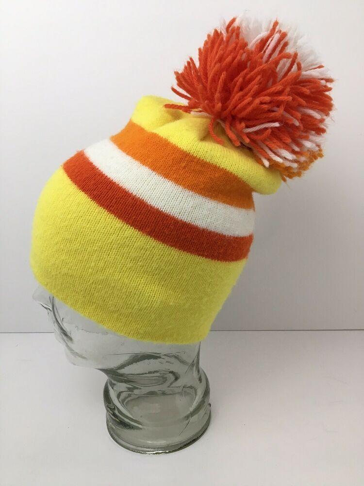 bbd235d59 Vintage Pom Pom Hat Retro Bright Color Block Yellow Orange White Cap ...