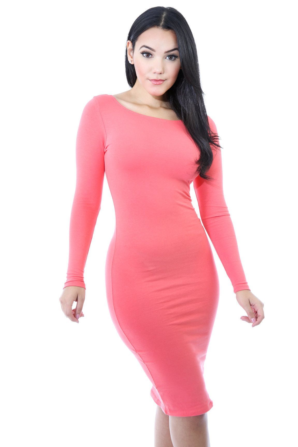 Simple Fashion Long Sleeve Cotton Bodycon Short Dress   Modelo