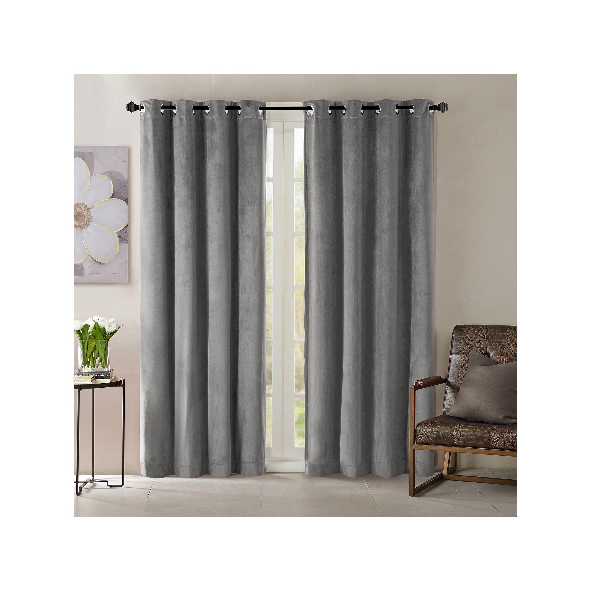 Madison Park Yvette Velvet Window Curtain Grey Bedroomcurtainscolor Curtains Curtain Decor Bay Window Curtains