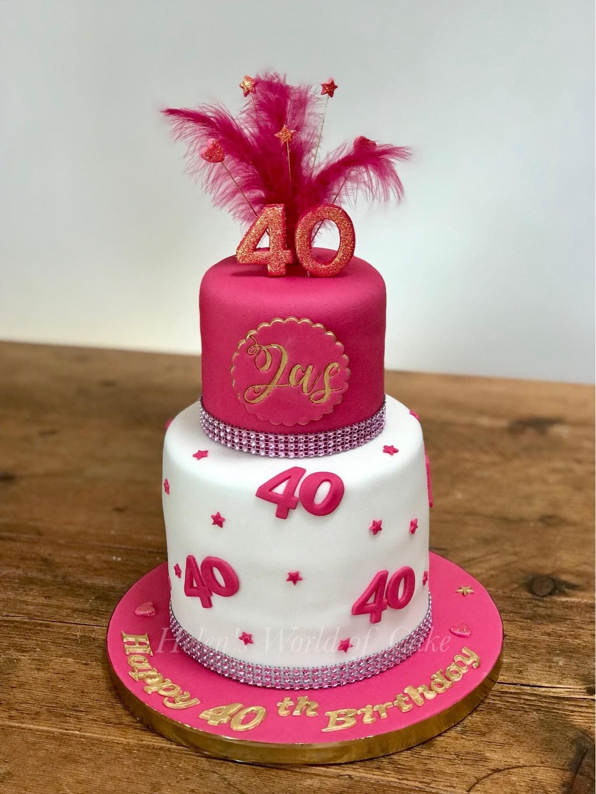 Cute 2 Tier 40th Birthday Cake