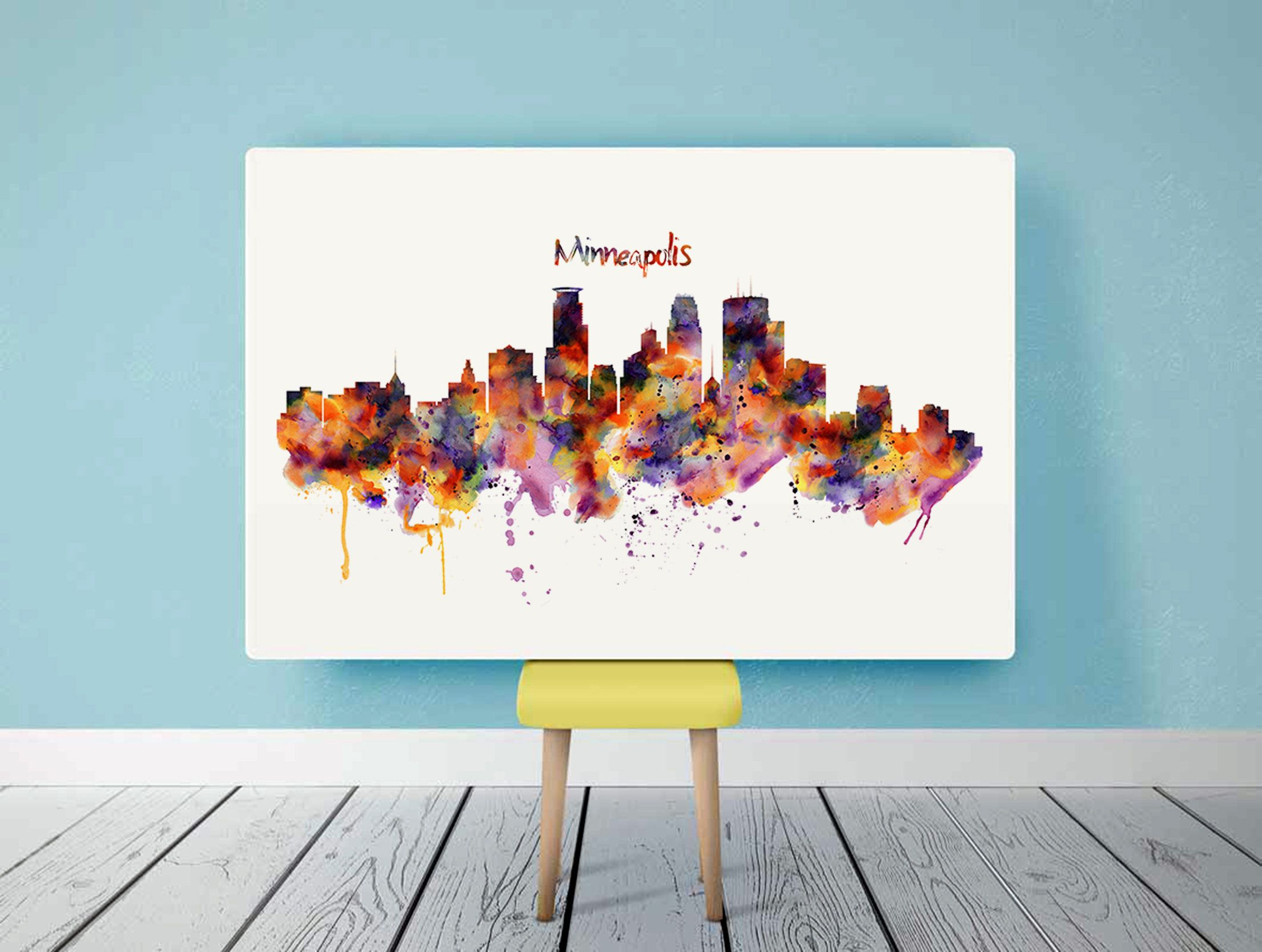 Minneapolis Skyline Printable Horizontal Watercolor Etsy Wall Art Instant Download Horse Wall Art Poster City
