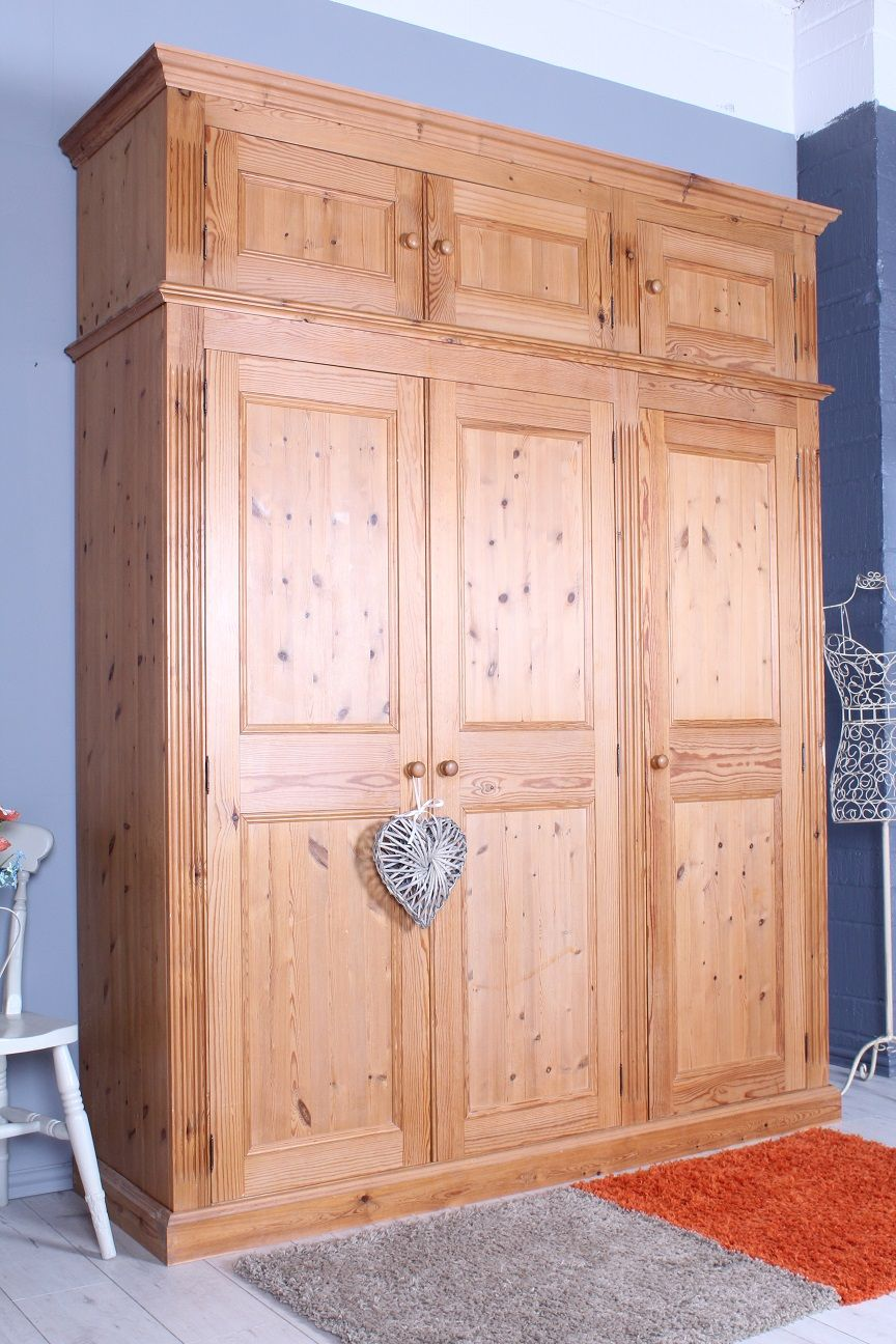 499 Solid Pine Triple Wardrobe With Top Box Light Colour Waxed Very Heavy Solid Pine Throughout See All Our Bedro Pine Furniture Furniture Triple Wardrobe