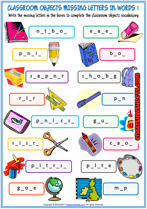 Classroom Objects Missing Letters In Words Worksheets In 2020 English  Lessons For Kids, English Worksheets For Kids, Worksheets For Kids