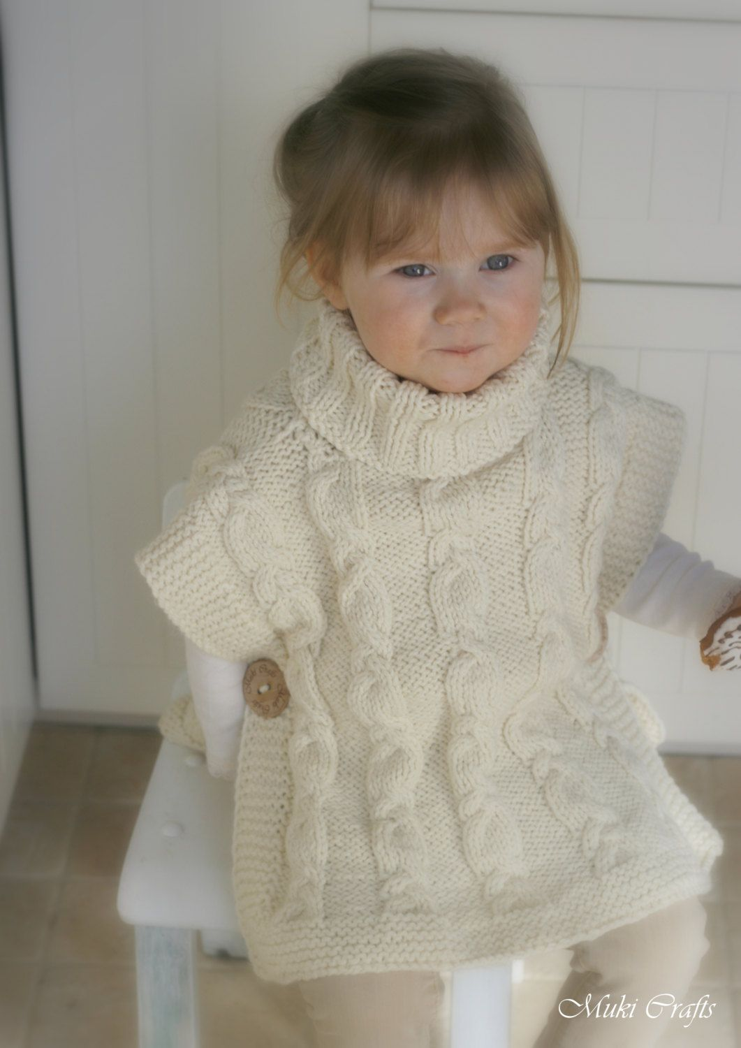 KNITTING PATTERN cable poncho Robyn with a headband (toddler, child ...