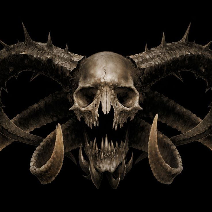 Demon Skull Skull Wallpaper Skull With Horns Skull Art