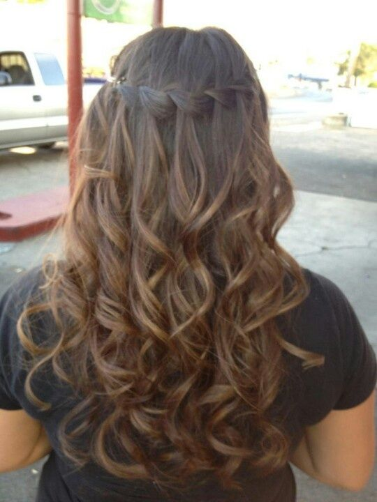 Waterfall braid with curly hair for Samantha! Description from ...