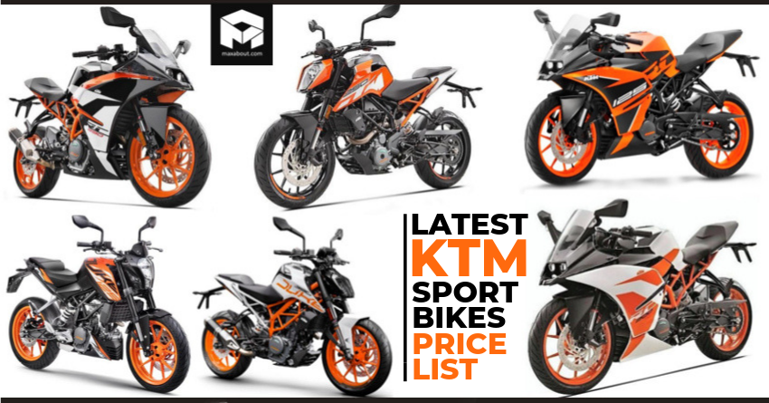 Official Price List Of 2019 Ktm Rc Duke Abs Motorcycles Ktm