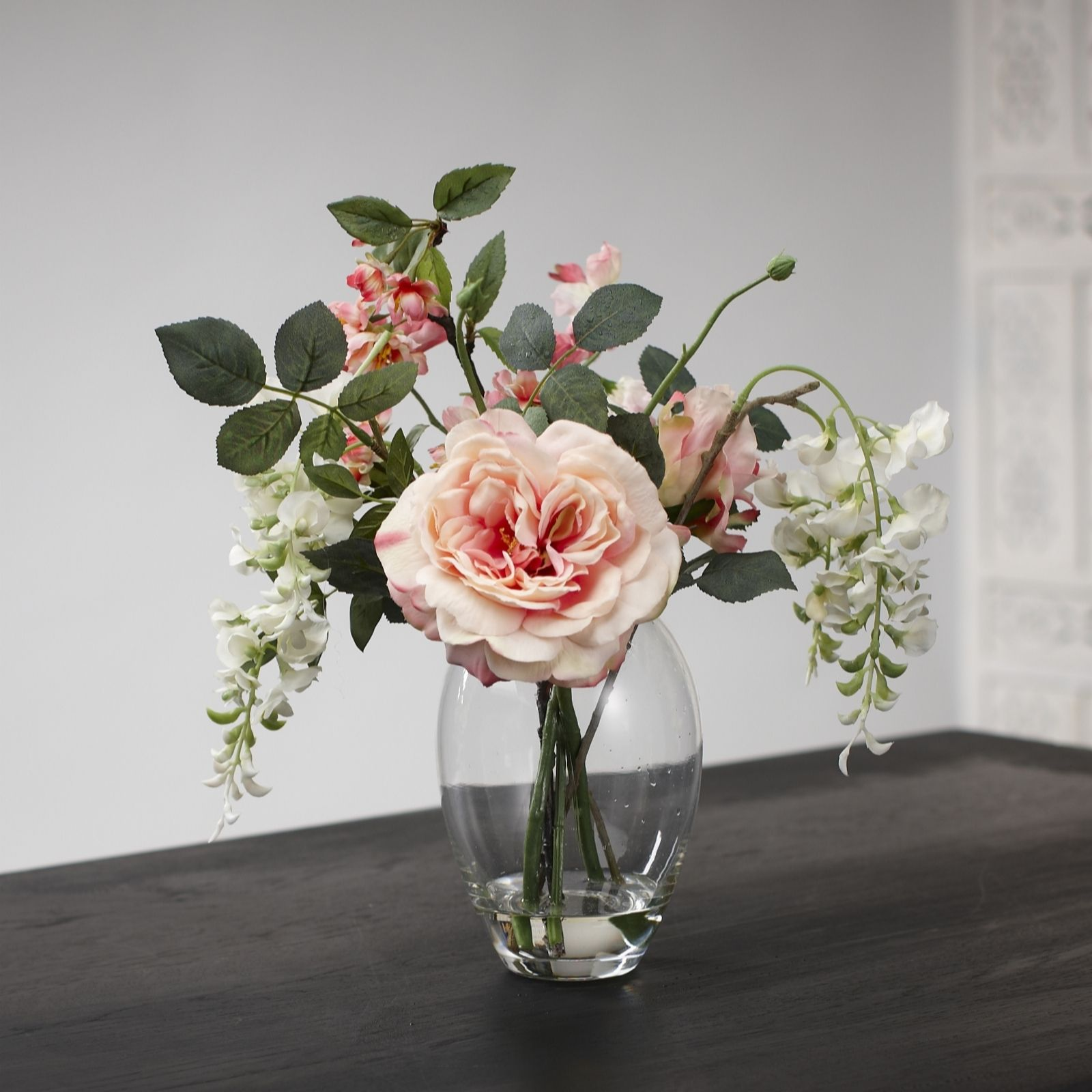Rose And Wisteria Faux Flowers In A Vase From Peony Bunga