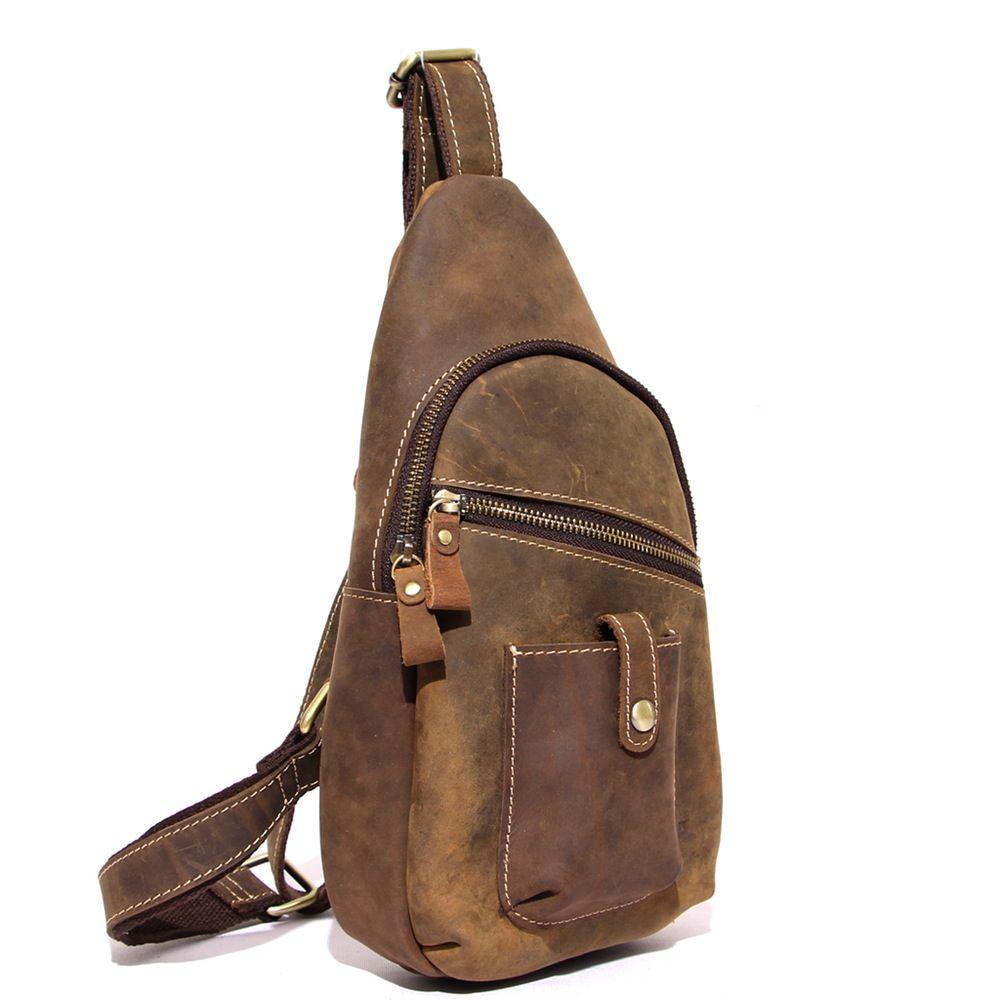 cf46a2d26d1c Handcrafted Top Grain Leather Travel Hiking Single Strap Shoulder Backpack  Sling Bag