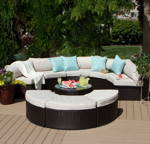 9-piece Outdoor Patio Sectional | Curved patio, Patio ... on Beachcroft Beige Outdoor Living Room Set  id=64911
