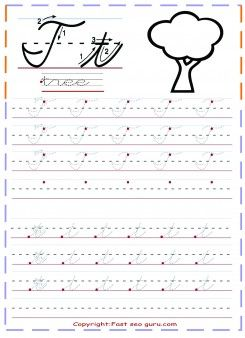 Free Print Out Cursive Handwriting Tracing Worksheets Letter T For Tree