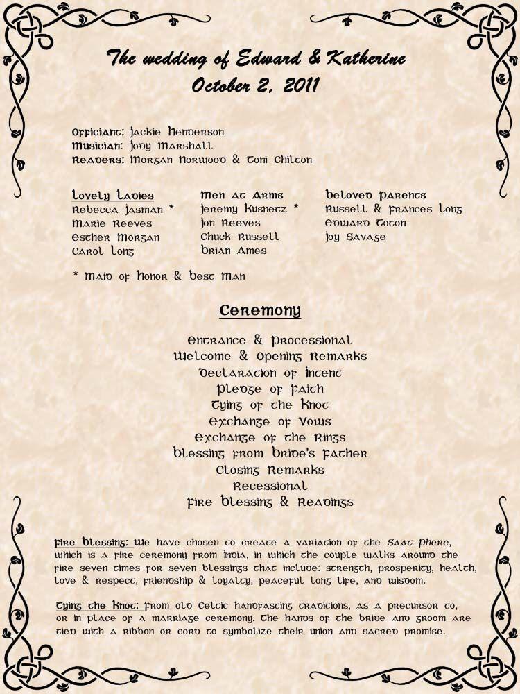 simple wedding program format wedding ideas wedding programs