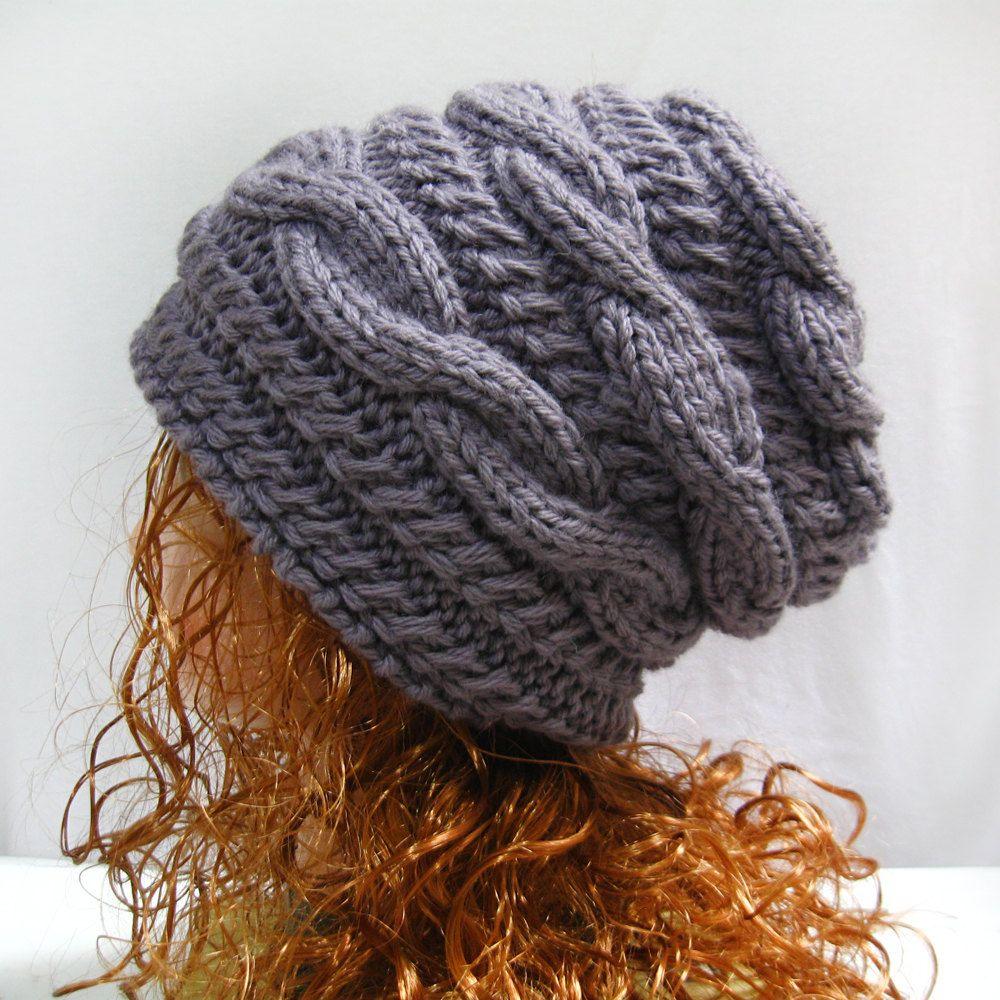 Slouchy Hat Knitting Pattern- Slouchy Knit Hat Pattern- Slouchy Hats ...