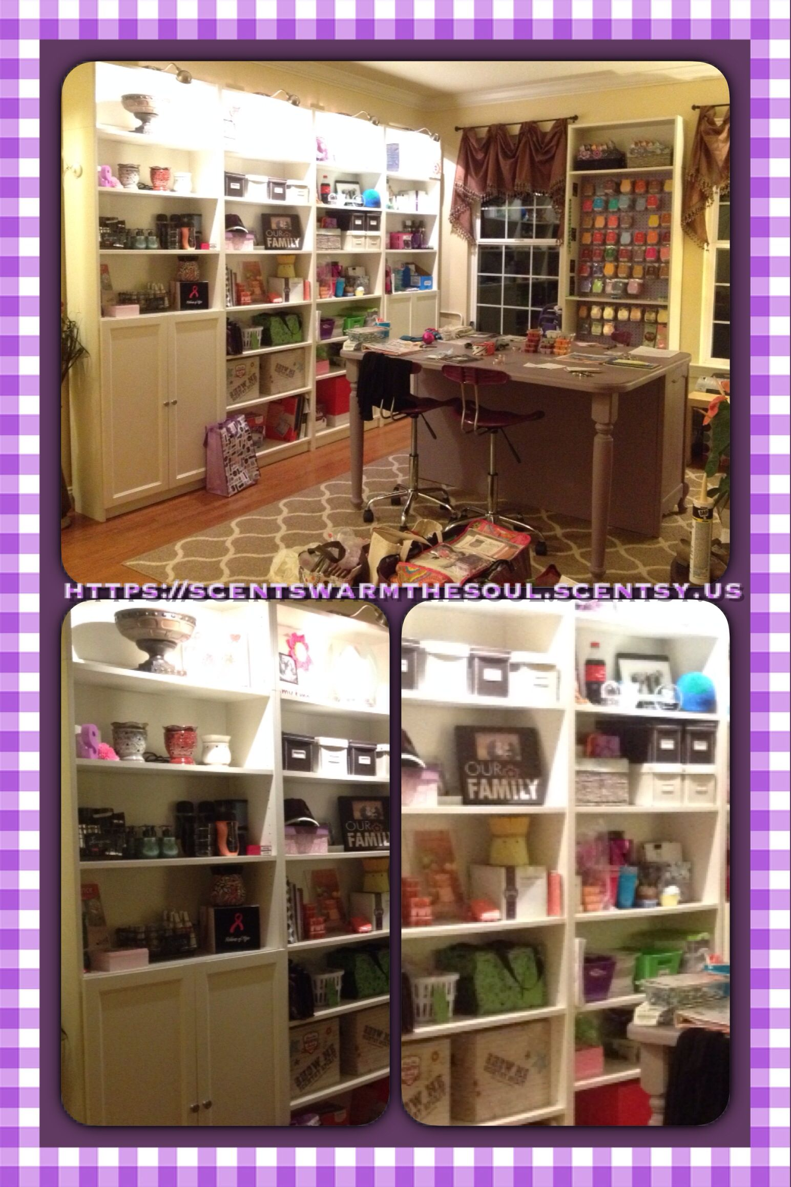 Scentsy office, purple office, organization, purple desk ...
