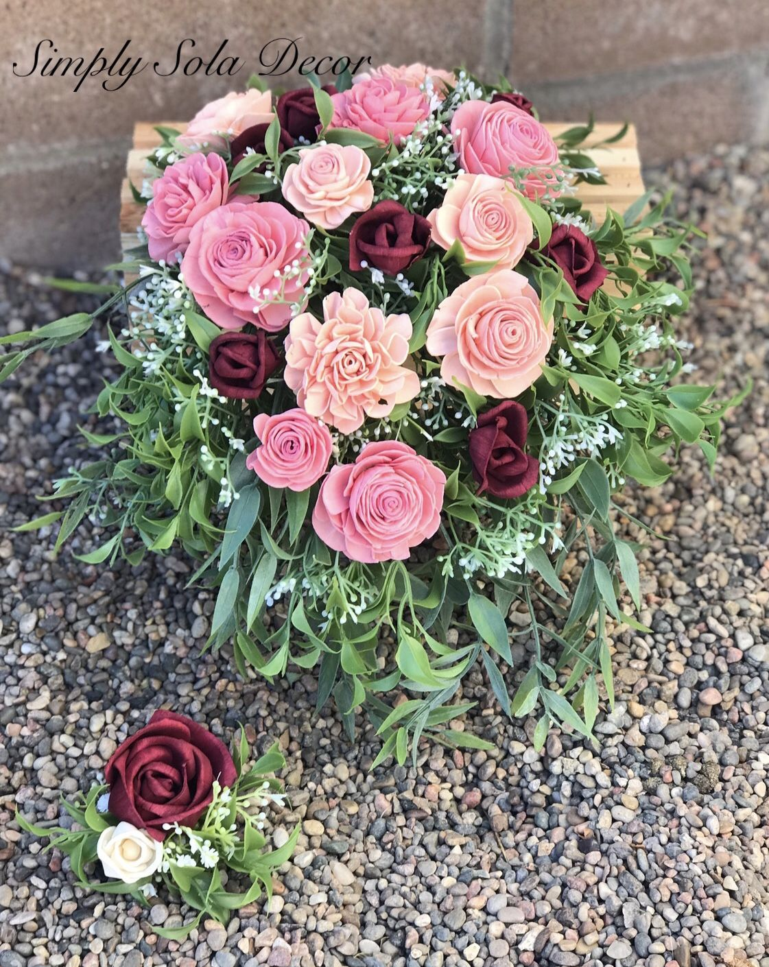Wood flower roses painted in spring colors for an outdoor