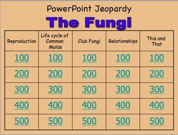 Fungi Powerpoint Jeopardy Review Game Set Of Two Games  Students