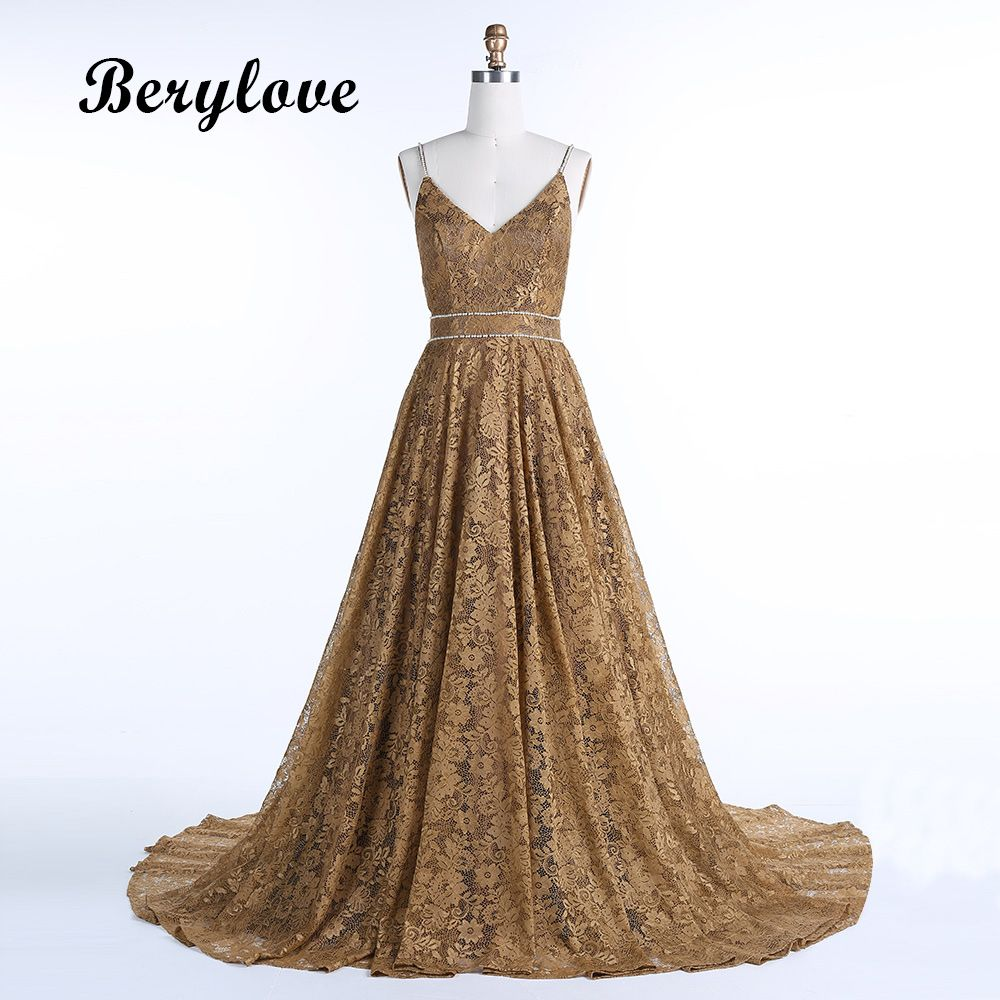 Long dark champagne lace evening dresses backless evening gowns