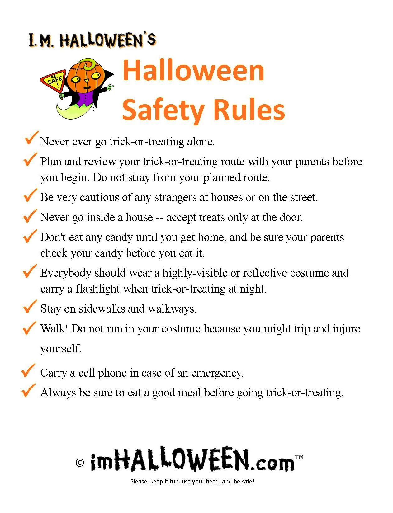 Halloween Safety Rules To Print Out Gt Find More