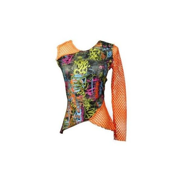 Cyberpunk Rave Top 90s Club Kid One Shoulder Graffiti Print Neon Mesh... ❤ liked on Polyvore featuring shirts and tops