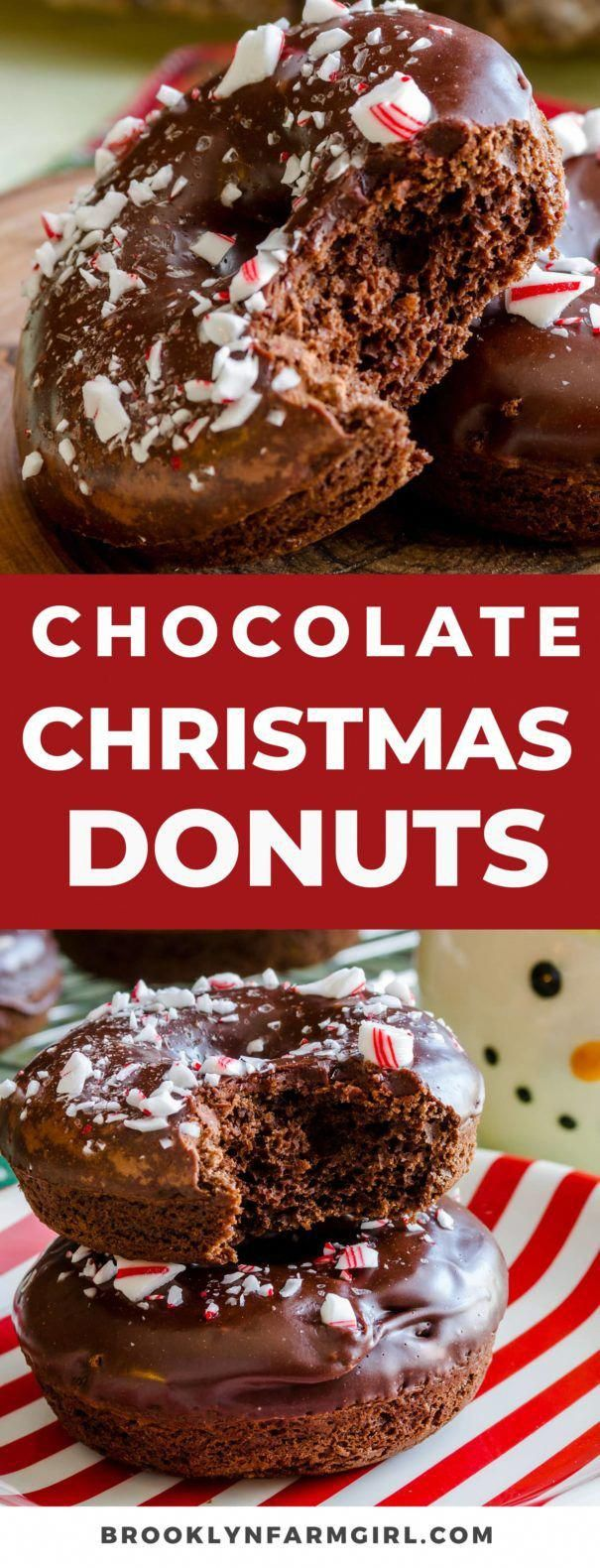 These Christmas donuts are fluffy baked chocolate donuts coated in chocolate frosting then topped with crushed peppermint candy canes. A fun and festive dessert that's perfect for Christmas breakfast! #donuts #chocolate #frosting #christmasrecipes #christmasbreakfast #breakfast