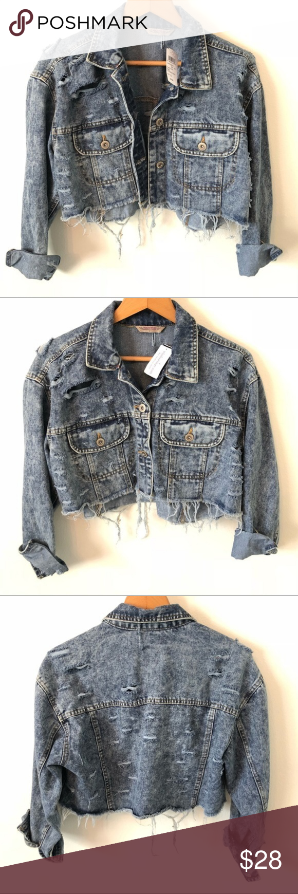 10bc4686de94 NWT WINDSOR Distressed Jean Cropped Jacket ➖DETAILS ➖ Distressed denim  jacket with destructed raw edge hemline Condition  Brand new with tags  Size  S ...