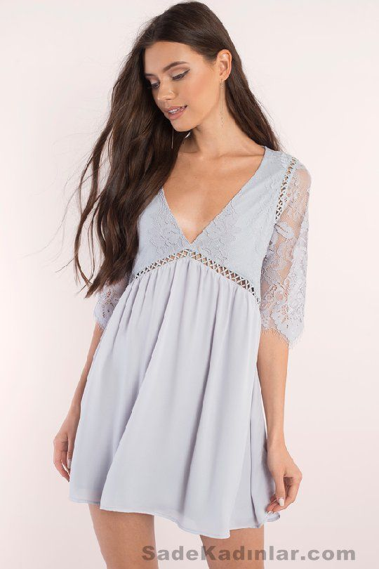 2a9e2723f94e4 Günlük Elbise 2018 Şık ve Rahat Yazlık Elbiseler lila kısa dekolteli |  SadeKadınlar - Moda