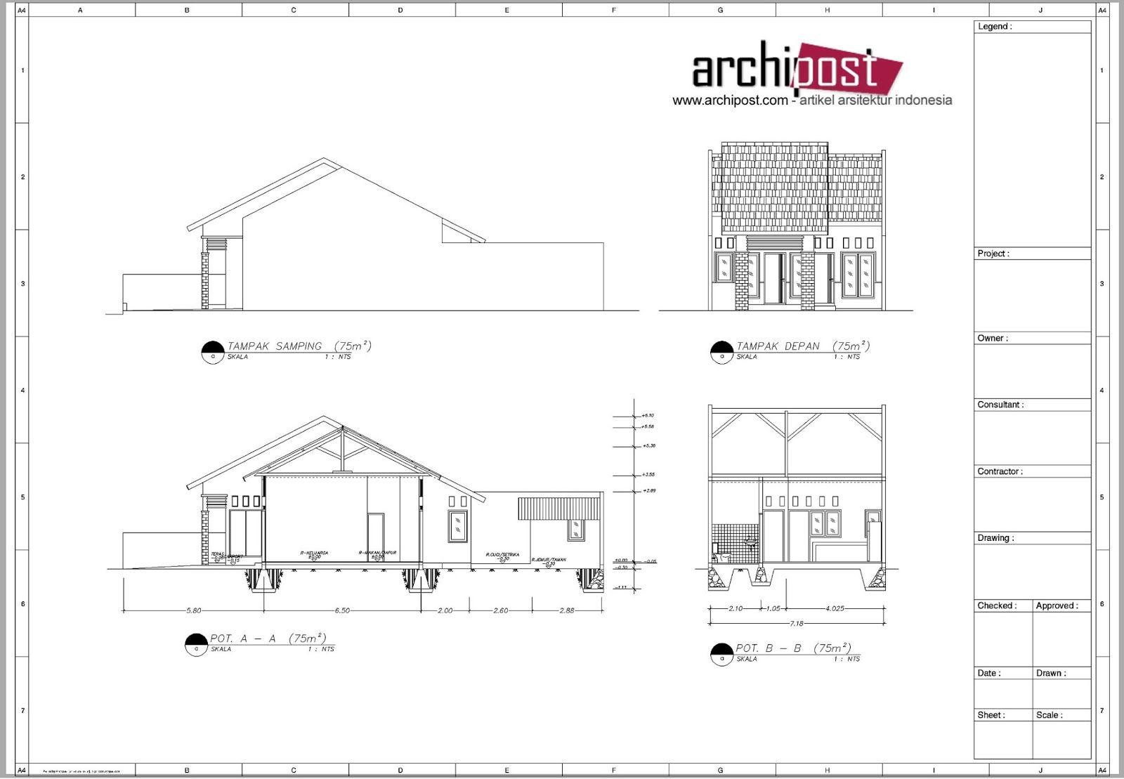 Rancangan Contoh Gambar Denah Dan Potongan Rumah Yang Modern Rumahminimalispro Com Rumah Denah Lantai Rumah Denah Rumah
