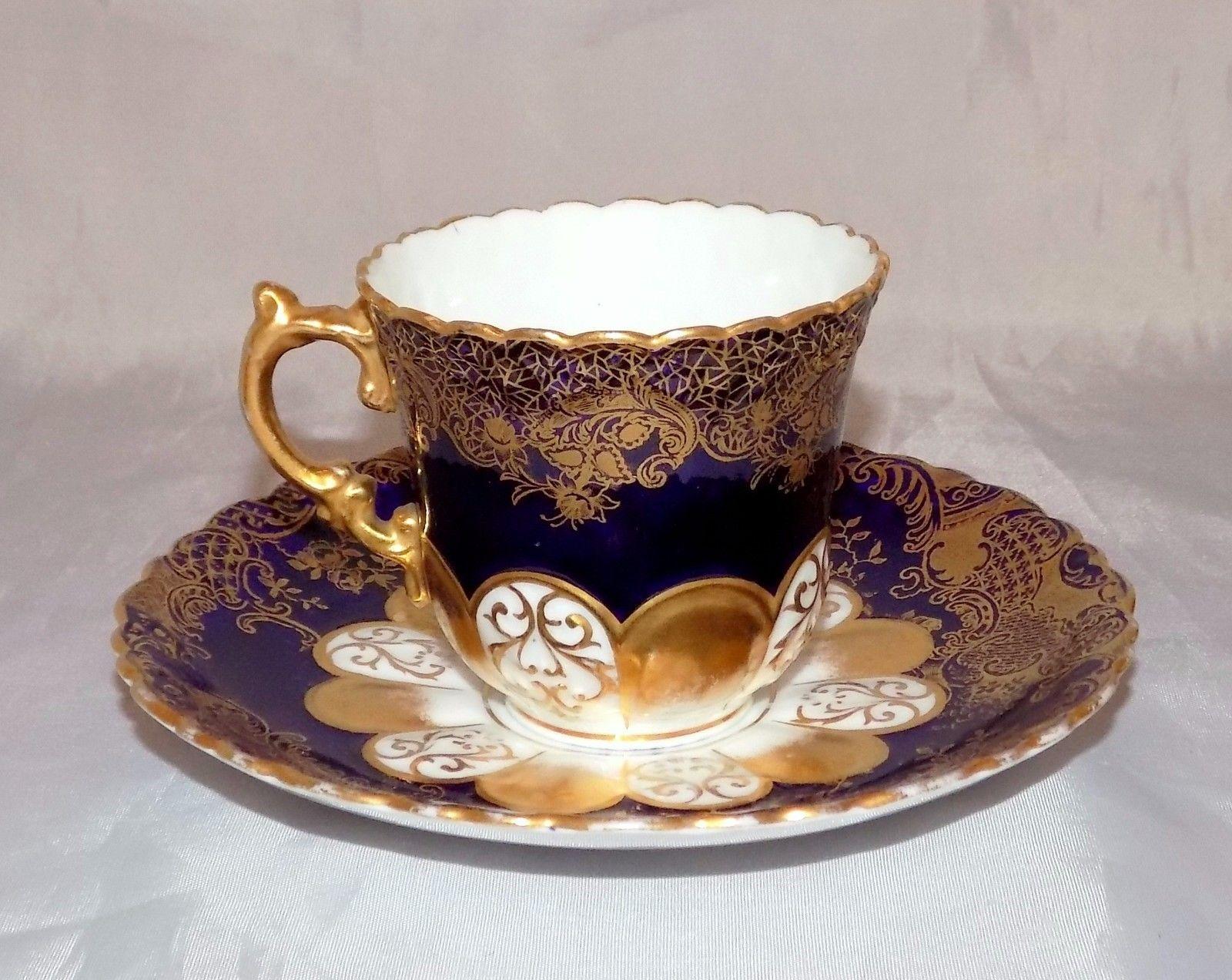 Antique Aynsley High Tea Cobalt Blue Gold Gilded Porcelain Tea Cup